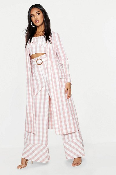 Boohoo Woven Gingham Longline Duster in pink