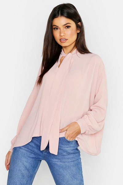 Boohoo Woven Pussy Bow Blouse in blush
