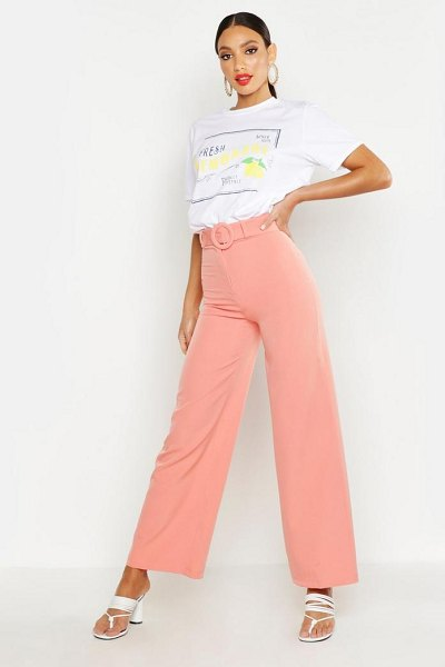 Boohoo Woven Self Belt Round Buckle Wide Leg Pants in coral