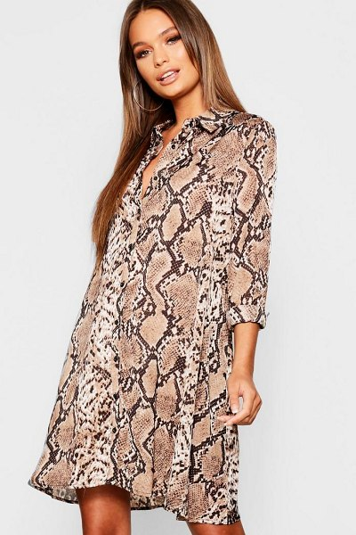 Boohoo Woven Snake Print Swing Shirt Dress in natural - Dresses are the most-wanted wardrobe item for...