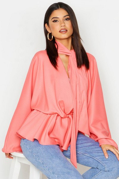 Boohoo Woven Tie Neck Batwing Blouse in coral