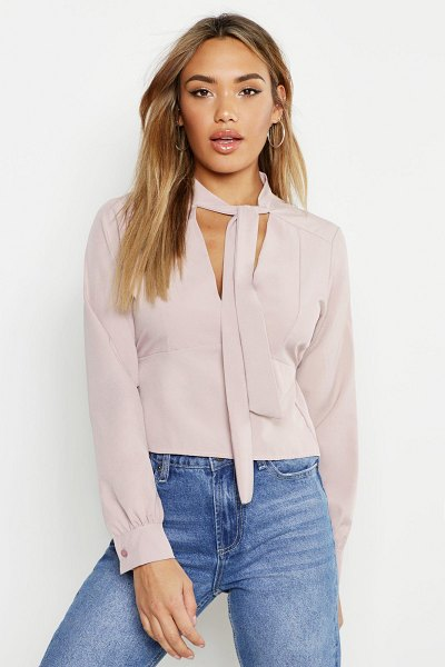 Boohoo Woven Tie Neck Fitted Blouse in soft pink