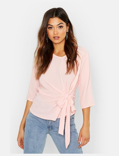 Boohoo Woven Tie Side Blouse in soft pink