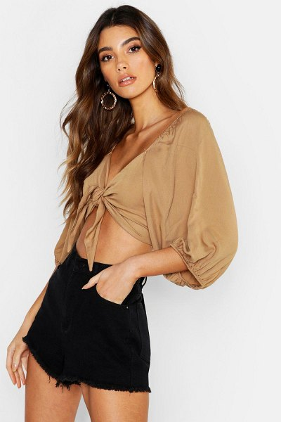 Boohoo Woven Viscose Volume Sleeve Tie Front Crop Top in stone