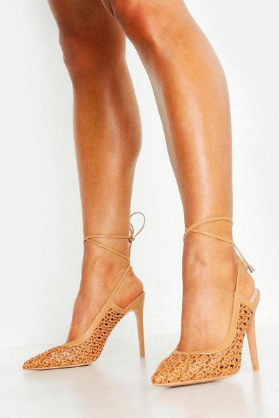 Boohoo Woven Wrap Pointed Court Shoes in tan