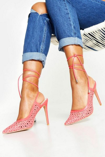Boohoo Woven Wrap Pointed Court Shoes in coral