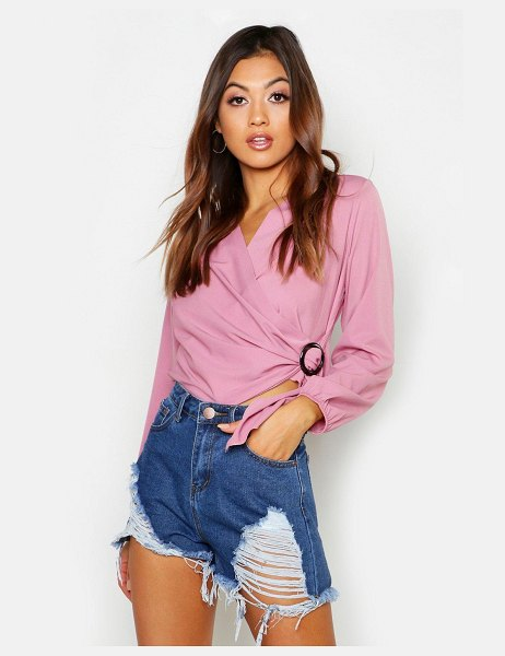 Boohoo Woven Wrap Round Buckle Blouse in rose