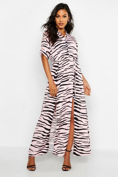 Boohoo Woven Zebra Maxi Shirt Split Dress in pink - Dresses are the most-wanted wardrobe item for...