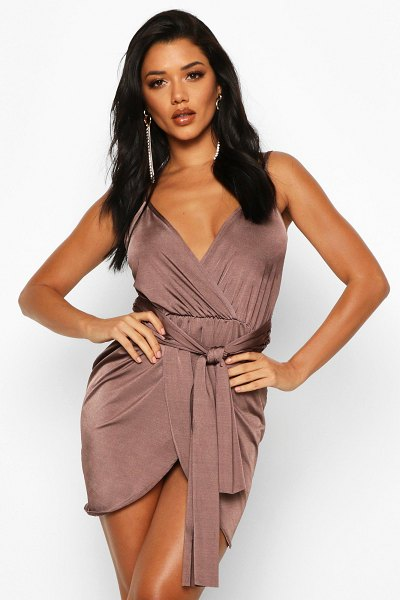 Boohoo Wrap Belted Bodycon Dress in chocolate