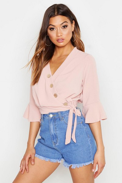 Boohoo Wrap Button Detail Top in rose