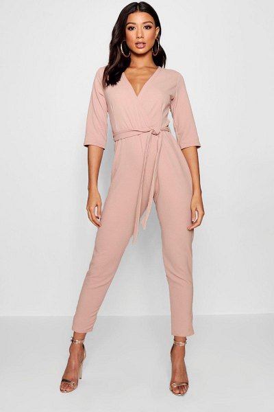 Boohoo Wrap Jumpsuit in stone