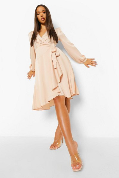 Boohoo Wrap Over Ruffle Hem Belted Midi Dress in champagne