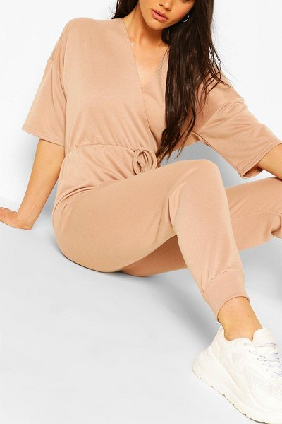 Boohoo Wrap Over Short Sleeve Loopback Sweat Jumpsuit in stone
