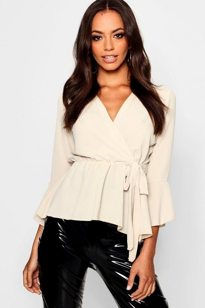 Boohoo Wrap Over Tie Blouse in stone