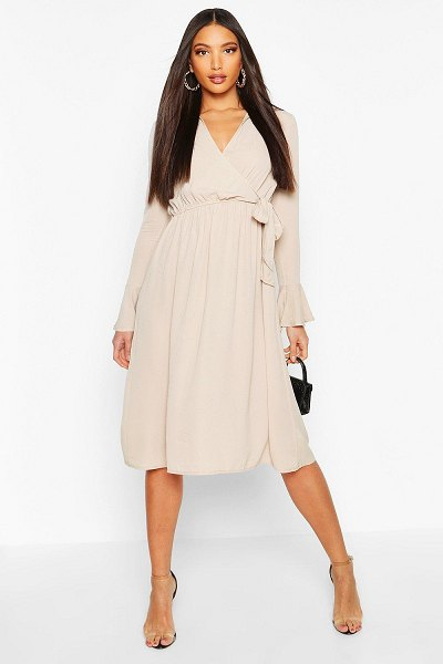 Boohoo Wrap Split Midi Dress in champagne