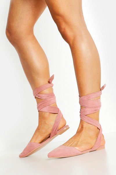 Boohoo Wrap Strap Pointed Flats in blush
