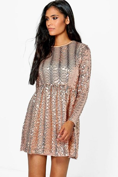 BOOHOO Xena Printed Sequin Long Skater Dress - Dresses are the most-wanted wardrobe item for...
