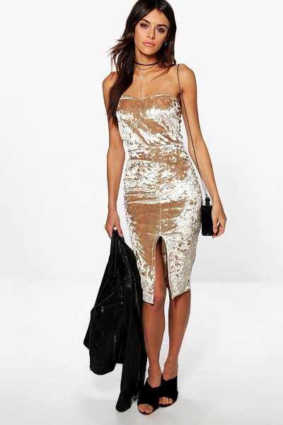 Boohoo Xenia Velvet Bardot Split Midi Dress in champagne - Dresses are the most-wanted wardrobe item for...