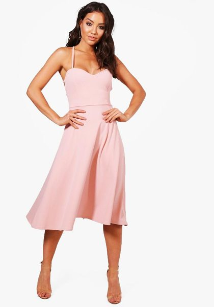 Boohoo Tie Back Detail Midi Skater Dress in blush - Dresses are the most-wanted wardrobe item for...