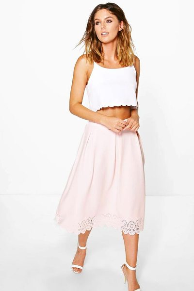 Boohoo Yasmine Crepe Lazer Cut Full Midi Skirt in blush - Skirts are the statement separate in every wardrobe This...