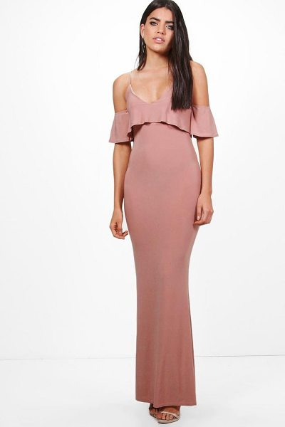 Boohoo Zadya Slinky Double Layer Maxi Dress in rose - Dresses are the most-wanted wardrobe item for...