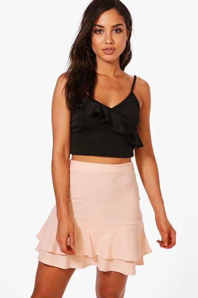Boohoo Double Ruffle Hem Mini Skirt in nude - Skirts are the statement separate in every wardrobe This...