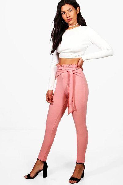 Boohoo Zarina Ruffle Waist Skinny Crepe Trousers in rose - Trousers are a more sophisticated alternative to...
