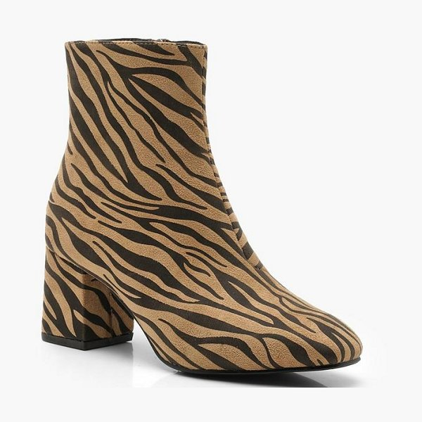 Boohoo Zebra Low Block Heel Shoe Boots in tan - We'll make sure your shoes keep you one stylish step...