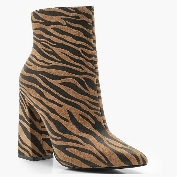 Boohoo Zebra Pointed Block Heel Boots in tan - We'll make sure your shoes keep you one stylish step...
