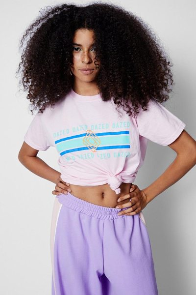 BOOHOO Zendaya Edit Dazed Slogan Pastel T-Shirt - Steal the style top spot in a statement separate from the...