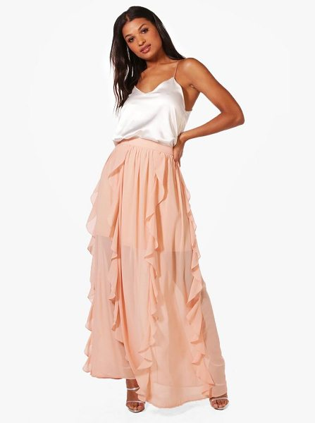 Boohoo Ruffle Detail Chiffon Maxi Skirt in nude - Skirts are the statement separate in every wardrobe This...