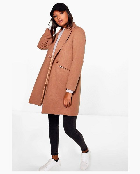 Boohoo Zip Pocket Tailored Coat in camel