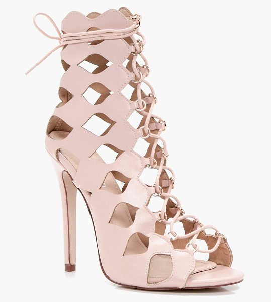 Boohoo Zoe Cage Ghillie Lace Up Heels in blush