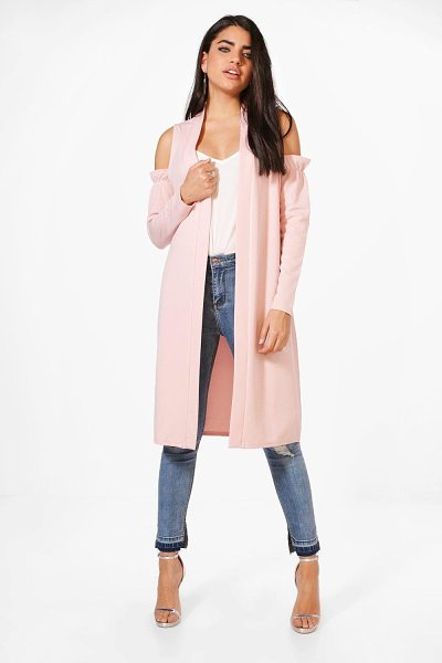 BOOHOO Zoe Cold Shoulder Ruffle Duster - Wrap up in the latest coats and jackets and get...