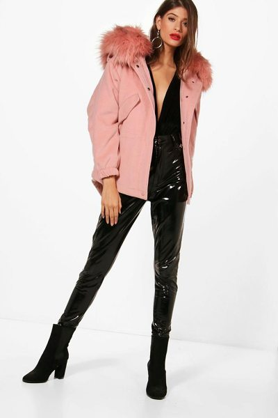 Boohoo Zoe Faux Fur Trim Wool Look Parka in dusky pink - Wrap up in the latest coats and jackets and get...