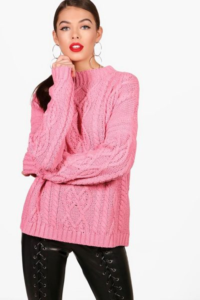 Boohoo Oversized Funnel Neck Crop Cable Jumper in pink - Nail new season knitwear in the jumpers and cardigans...