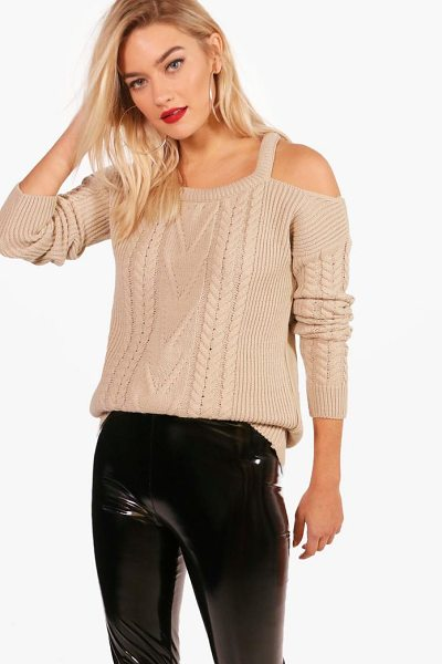 Boohoo Zoe Slash Detail Cable Knit Jumper in stone - Nail new season knitwear in the jumpers and cardigans...