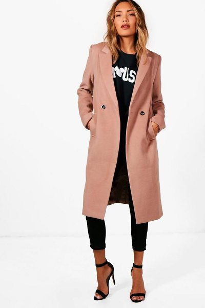 Boohoo Zoey Maxi Double Breasted Coat in camel - Wrap up in the latest coats and jackets and get...