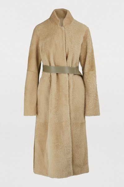 Boontheshop Shearling reversible long coat in neutral beige