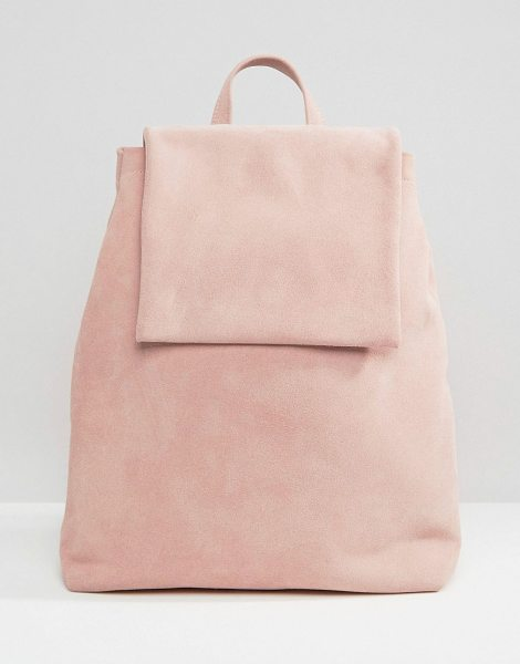 Boopacks Boo Backpack in Pink Suede in pink - Backpack by Boopacks, Suede outer, Single grab handle,...
