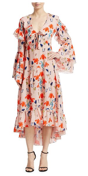 Borgo De Nor luna long sleeve ruffled gown in iris blush