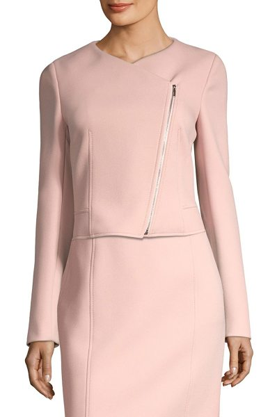 BOSS juleama soft compact twill jacket in blush - Twill-knit jacket with exposed seams and an asymmetric...