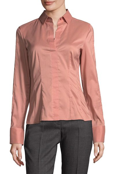 BOSS bashina collared blouse in sand rose - Cotton-blend fitted blouse in pleated design. Spread...