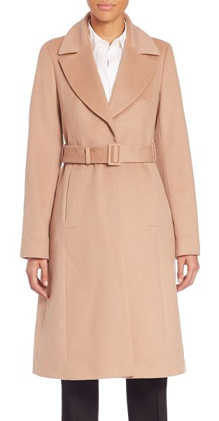 BOSS Cerana coat in camel - Belted wool coat in tailored fitNotched lapelsLong...