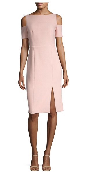 BOSS denaka cold-shoulder sheath dress in blush - From the April Collection Side slit hem accentuates...