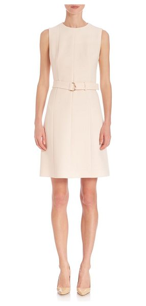 BOSS diganira cinch belt dress in pink - Solid silhouette accentuated with a chic belt. Round...