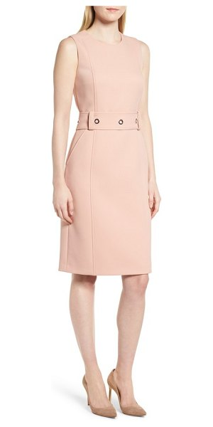 BOSS duleama compact twill dress in blush - A structured belt with gleaming grommets accentuates the...