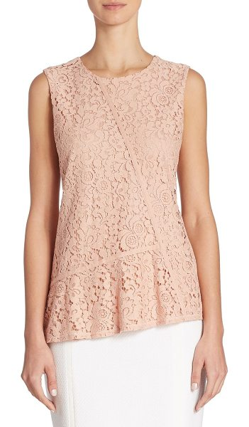 BOSS etopaly jersey & lace top in primrose - Asymmetrical top with feminine floral lace front....