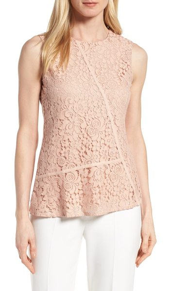 BOSS etopaly lace top in primrose - Utilitarian twill tape cuts across the lacy front of a...