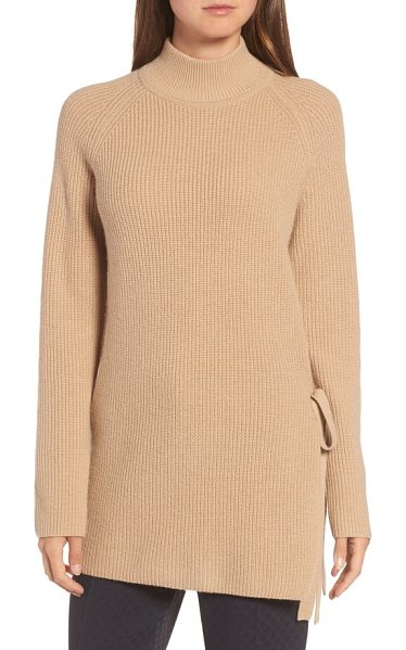 BOSS filda tie side sweater in warm camel - A pullover knit from a lusciously cozy blend of wool,...